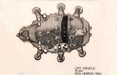 Ron Harron, Walking City Sketch Plan 1964 ©Archigram Archives